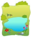 Campo del prato e piccolo lago Fotografie Stock Libere da Diritti