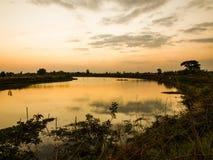 Campo del río por la tarde Imagen de archivo