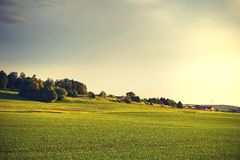 Campo del verde de hierba con el pueblo Fotografía de archivo