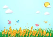 Campo dell'orzo di stile di arte e sole di carta degli uccelli con il fondo della nuvola Fotografia Stock Libera da Diritti