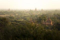 Campo della città antica della pagoda di scena di alba in Bagan Myanmar Alta qualità di immagine Fotografia Stock