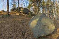 Campo della pietra del parco naturale sulla frontiera fra Europa e l'Asia Fotografie Stock