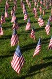 Campo delle bandiere americane durante la festa dell'indipendenza degli Stati Uniti Fotografie Stock Libere da Diritti