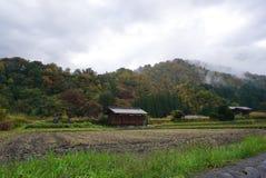 Campo di agricoltura con il fondo tradizionale del granaio Fotografia Stock Libera da Diritti