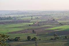 Campo di agricoltura e paesaggio India della collina fotografia stock