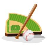 Campo di baseball ed illustrazione di vettore della palla Fotografia Stock Libera da Diritti