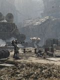 Campo di battaglia futuro della città illustrazione di stock