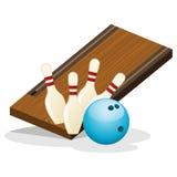 Campo di bowling ed illustrazione di vettore della palla Fotografia Stock Libera da Diritti