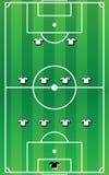 Campo di calcio con formazione del gruppo Immagine Stock Libera da Diritti