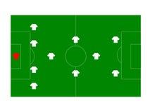 Campo di calcio con i giocatori illustrazione di stock