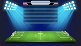 Campo di calcio con il tabellone segnapunti Fotografie Stock