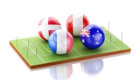 campo di calcio 3d con le bandiere del pallone da calcio Concetto di sport Immagine Stock