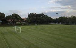 Campo di calcio dalla vista di occhio di uccello Fotografia Stock Libera da Diritti