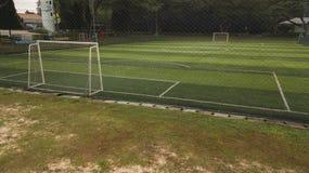 Campo di calcio dalla vista di occhio di uccello Fotografia Stock