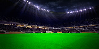 Campo di calcio dell'arena dello stadio di notte Fotografie Stock Libere da Diritti