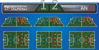 Campo di calcio di vettore con formazione di strategia Fotografia Stock