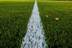 Campo di calcio verde con la linea del segno Fotografia Stock