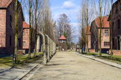 Campo di concentramento di Auschwitz-Birkenau a Oswiecim fotografia stock