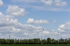 Campo di energia eolica il giorno di estate Immagine Stock