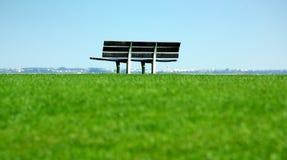 Campo di erba con la banca Immagine Stock