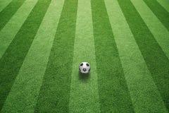 Campo di erba soleggiato con pallone da calcio Immagini Stock