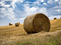 Campo di estate con le balle di fieno sotto le nuvole di tempesta Agricoltura concentrata Immagine Stock