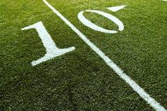 Campo di football americano con 10-Yard Fotografia Stock