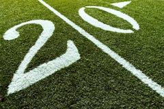 Campo di football americano con 20 yarde Immagini Stock