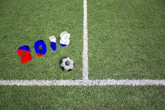 Campo di football americano con la bandiera russa concettuale Immagini Stock Libere da Diritti