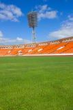 Campo di football americano con la lampada Fotografia Stock
