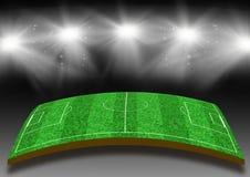 Campo di football americano con un prato inglese nell'ambito delle luci fotografia stock