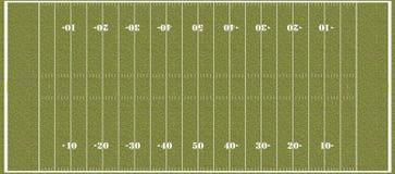 Campo di football americano - contrassegni del NFL di regolamento Immagini Stock