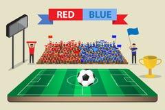 Campo di football americano di calcio con il sostenitore Fotografia Stock