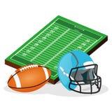 Campo di football americano ed illustrazione di vettore della palla Fotografie Stock Libere da Diritti
