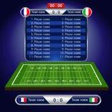 Campo di football americano Programma del giocatore con l'insieme degli elementi infographic Fotografia Stock Libera da Diritti