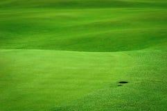 Campo di golf con un foro della sfera Immagine Stock