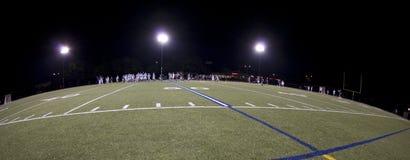 Campo di Lacrosse durante la partita notturna Fotografie Stock