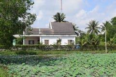 Campo di Lotus e casa vietnamita Immagini Stock
