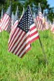 Campo di Outddor delle bandiere americane Fotografie Stock Libere da Diritti