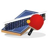 Campo di ping-pong ed illustrazione di vettore della palla Fotografia Stock