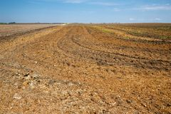 Campo di recente arato nel Midwest pronto per piantare Fotografia Stock