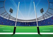 Campo di rugby con lo stadio luminoso Fotografia Stock