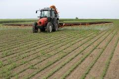 Campo di spruzzatura della soia con lo spruzzatore del trattore Fotografia Stock