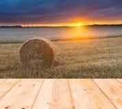 Campo di stoppie al tramonto con il vecchio pavimento di legno delle plance su priorità alta Fotografia Stock