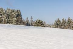 Campo do feno da operação de descarga em um prado coberto com a ceifa de espera da neve Fotografia de Stock