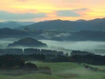 Campo do fogy do outono Vista no vale nevoento longo completamente da paisagem colorida do melancholic do outono da névoa fotografia de stock royalty free