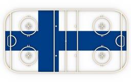 Campo do hóquei em gelo textured pela bandeira de Finlandia Relativo à competição do mundo Fotografia de Stock Royalty Free