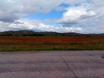 Campo do outono no pé dos montes foto de stock