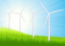 Campo do verão da exploração agrícola de vento Imagem de Stock Royalty Free