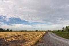 Campo dopo la piantatura della preparazione e del raccolto Fotografie Stock Libere da Diritti